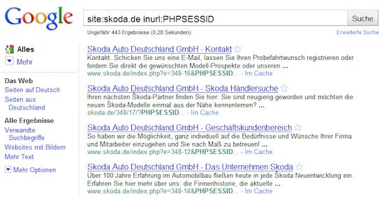 Session-IDs bei Skoda.de
