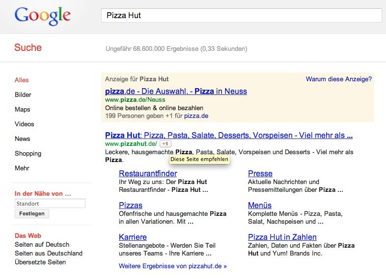 +1-Button Pizza Hut auf der Suchergebnisseite