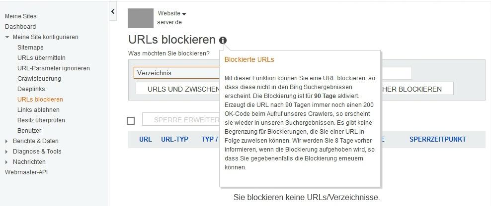 Screenshot der bing Webmaster-Tools Dialog URL blockieren