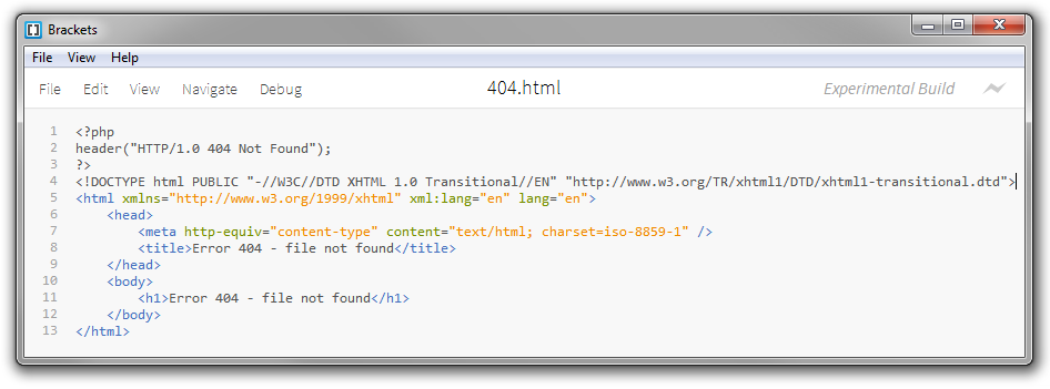 Source code: HTML markup of a 404 error page with the HTTP status code