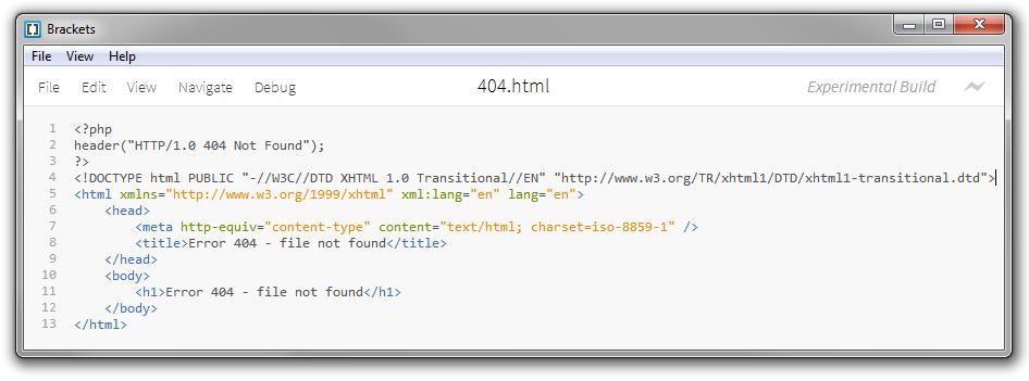 Codice sorgente: markup HTML di una pagina di errore 404 con il codice di stato HTTP