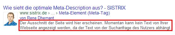 Google wählt den Inhalt der Meta-Description in Abhängigkeit der jeweiligen Suchanfrage aus