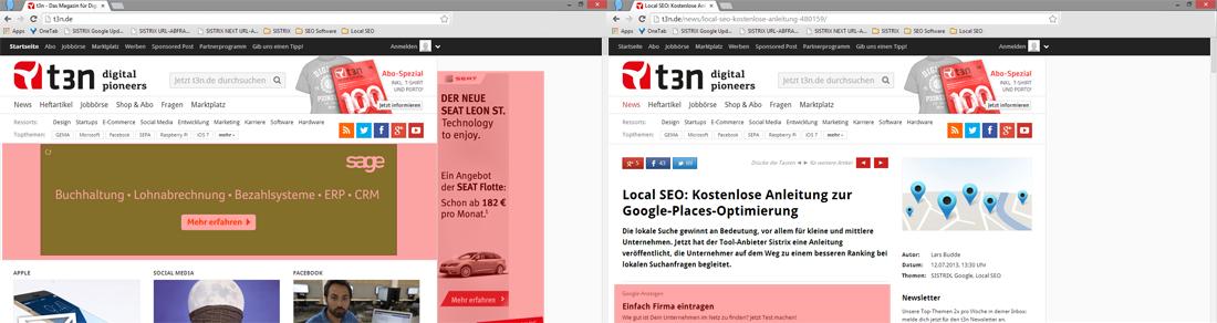 Größe der Bannereinblendungen auf der Startseite und einer Artikelseite von t3n.de