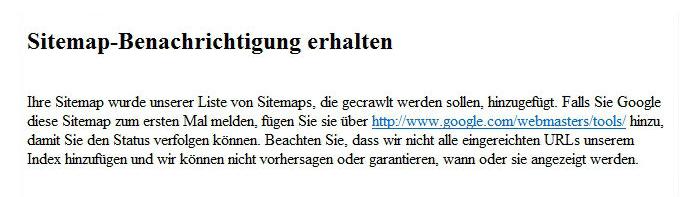 Bestätigung über Sitemapeinreichung via Bing-Befehl
