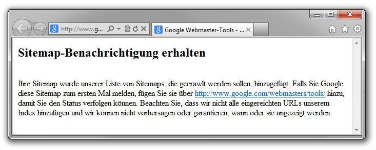 Bestätigung über Sitemapeinreichung via Ping-Befehl