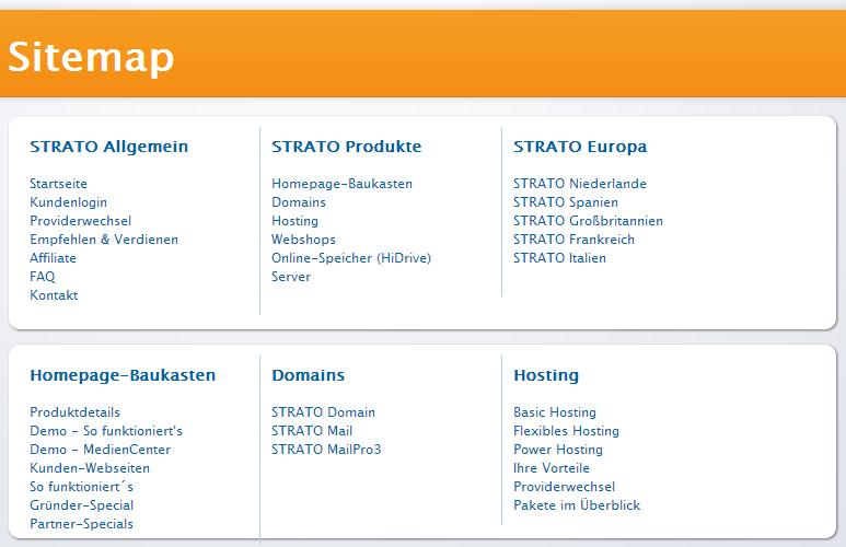 Der Internet Service Provider Strato Bietet Seinen Besuchern Eine Ubersichtlich Kategorisierte Sitemap An