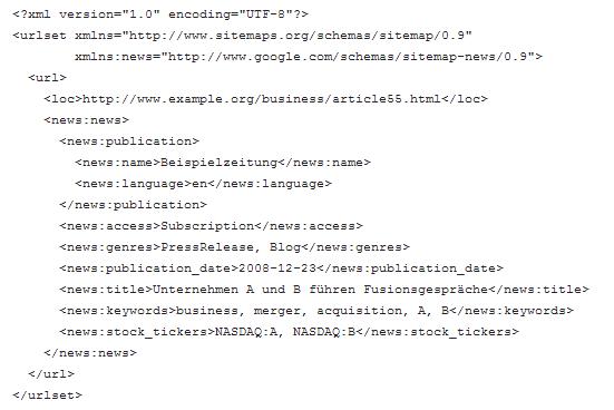News-XML-Sitemap: Sie dient ausschließlich den Suchmaschinen und verknüpft Nachrichteninhalte mit weiteren Attributen