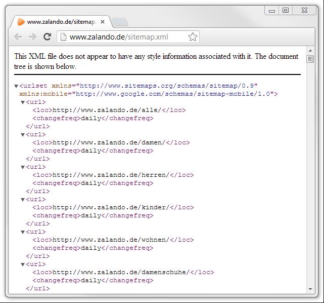 Aufruf einer XML-Sitemap in einem Webbrowser; hier von zalando.de