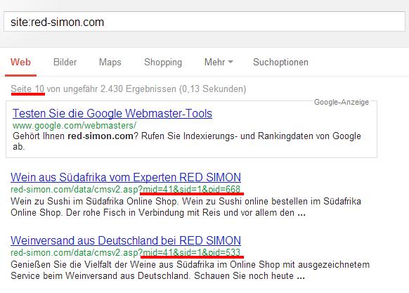Google Siteabfrage von red-simon.com aus 2013. Es tauchen viele URLs mit Parametern in den Suchergebnissen auf.
