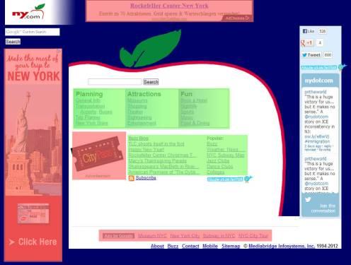 Rojo: Bloques publicitarios, verde: Contenido La referencia a Twitter en la barra lateral derecha no cuenta como