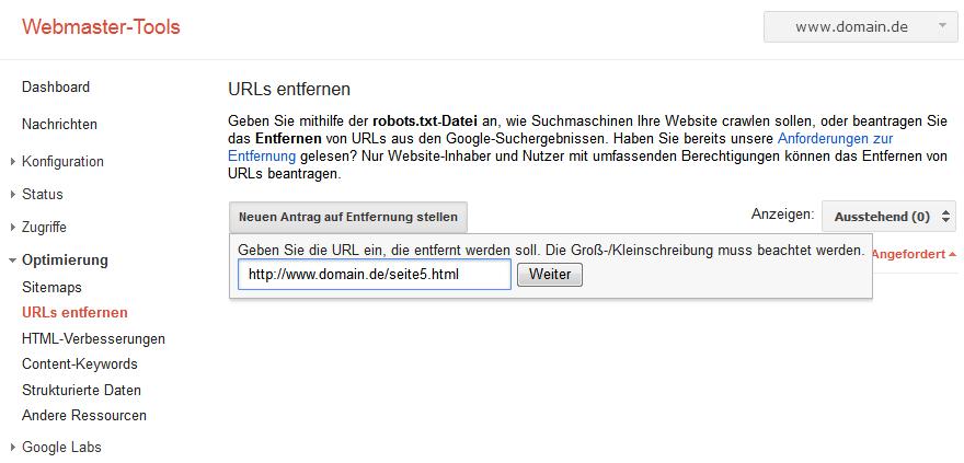Dialog zum entfernen einer URL in der Search Console: Eingabe der URL