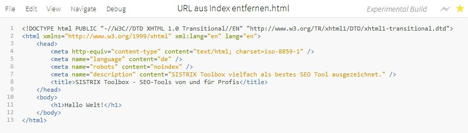 Bild eines Editors mit HTML Quelltext. In Zeile 6 steht das Robots Meta-Element mit dem Wert NOINDEX.