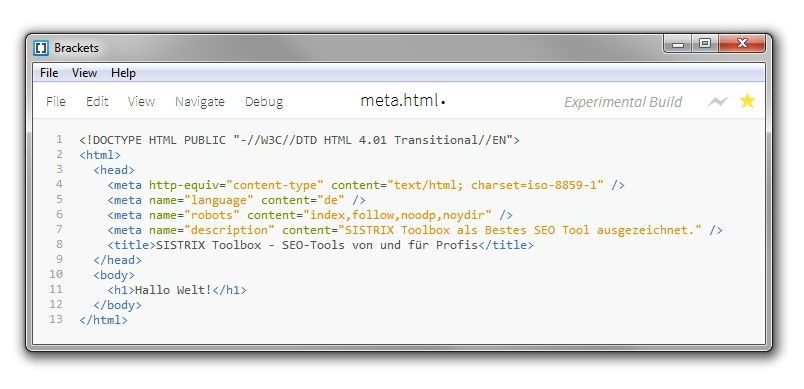 Source code: HTML markup in an editor
