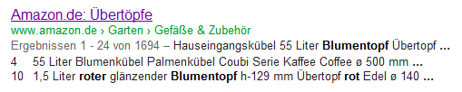 Amazon Snippet mit veränderter Description