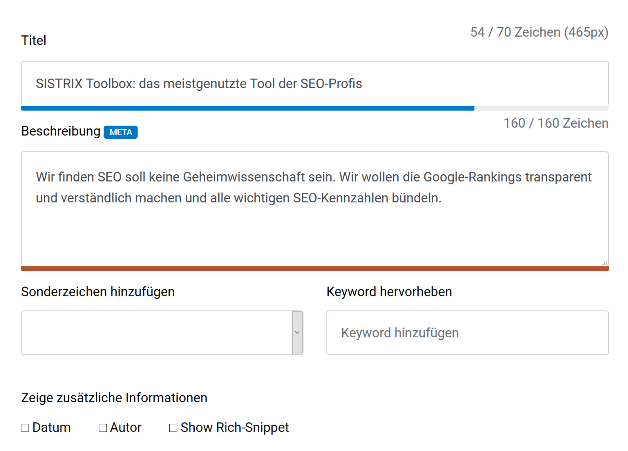 Serp-Snippet Generator bei den kostenlosen Tools auf sistrix.de