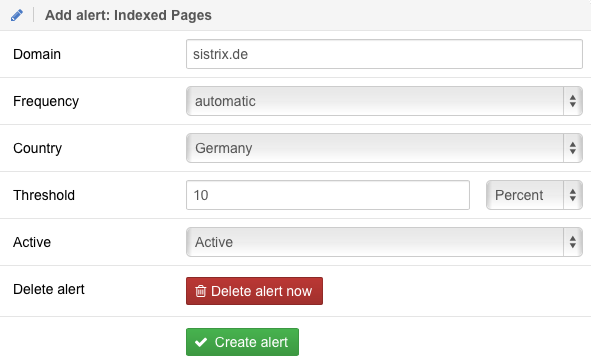 Indexed Pages Alert Settings
