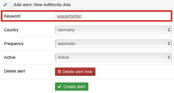 Add new Alert: New AdWords Ads
