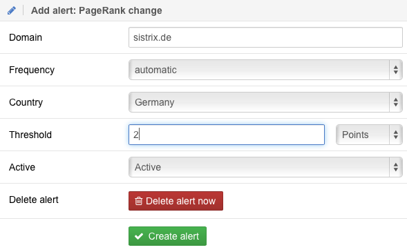 PageRank Alert Settings