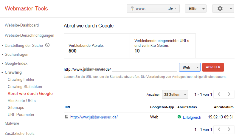 Funktion Abruf wie durch Google in der Google Search Console