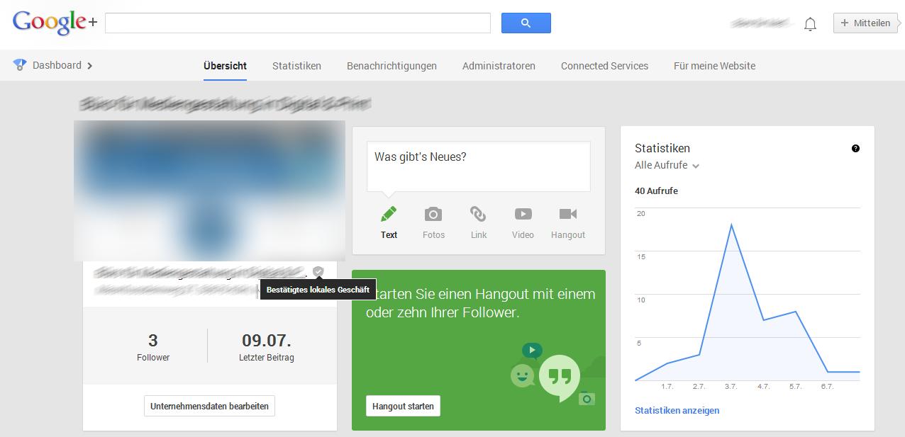 Verwaltungsoberfläche eines lokalen Google+ Unternehmenseintrages innerhalb von Google+
