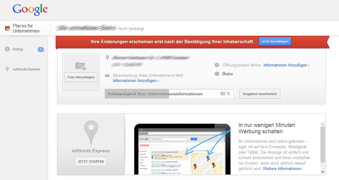 Die Verwaltungsoberfläche von Google Places im neuen Design. Derzeit nur für neu registrierte Google-Accounts nutzbar.