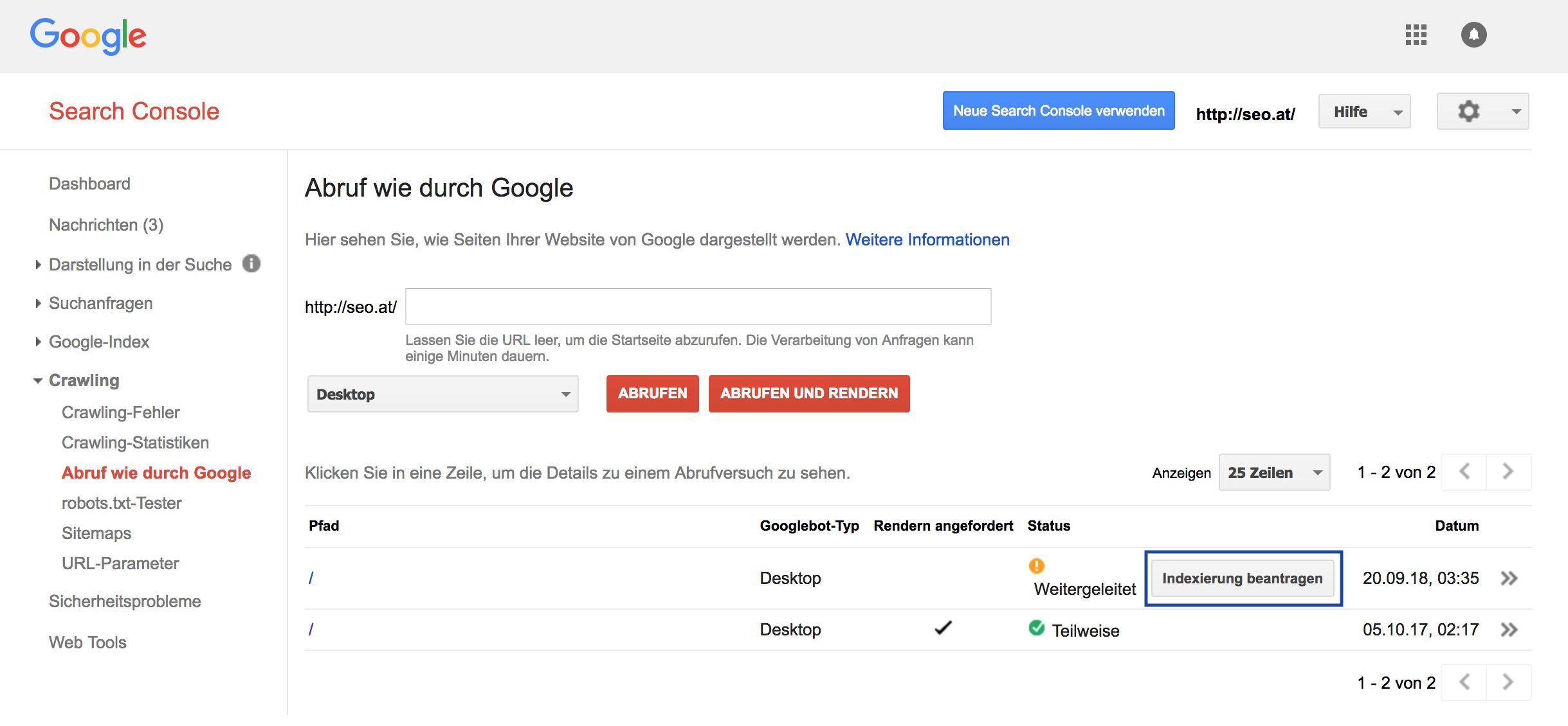 Funktion Abruf wie durch Google in der Google Search Console