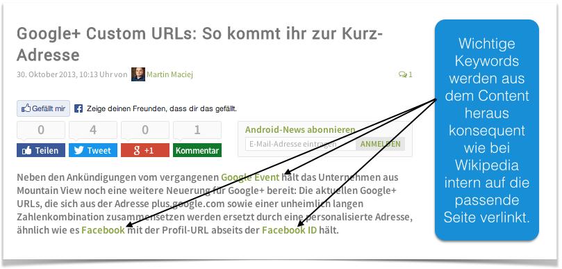 Interne Verlinkung giga.de