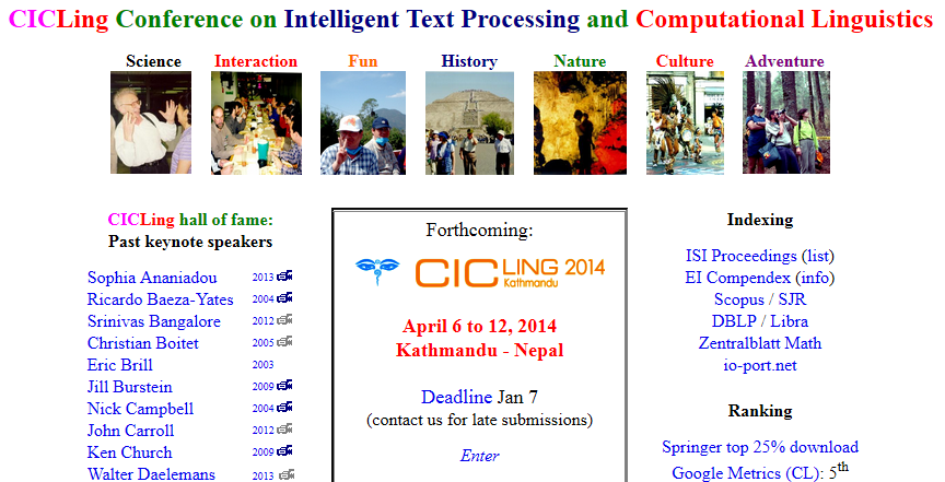 Die Website der Conference on Intelligent Text Processing and Computational Linguistics.