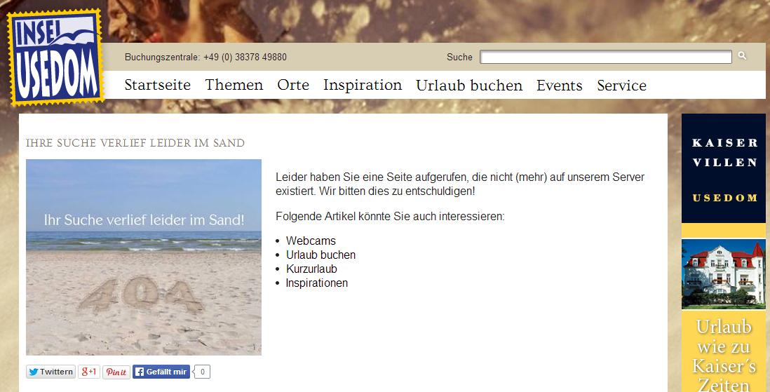 404-Seite Usedom.de
