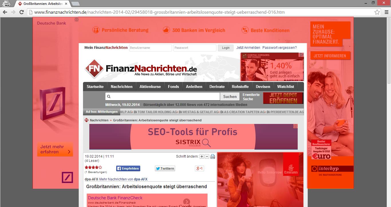 Ads above the fold einer Artikelseite von finanznachrichten.de