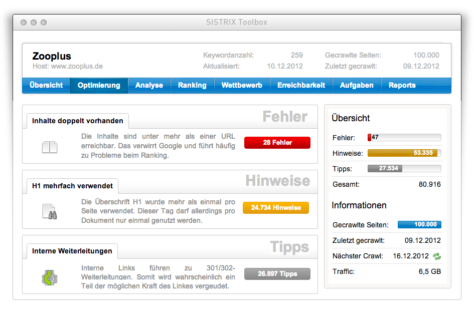 OnPage-Optimierung: Website-Analyse mit dem SISTRIX Optimizer
