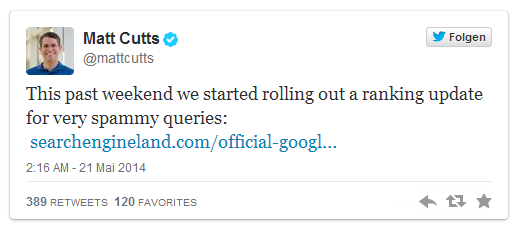 Matt Cutts announces the rollout of the Payday Loan Update 2.0