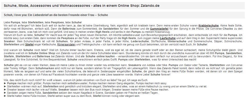 Startseite von Zalando.de mit einem vermeintlichen SEO-Text