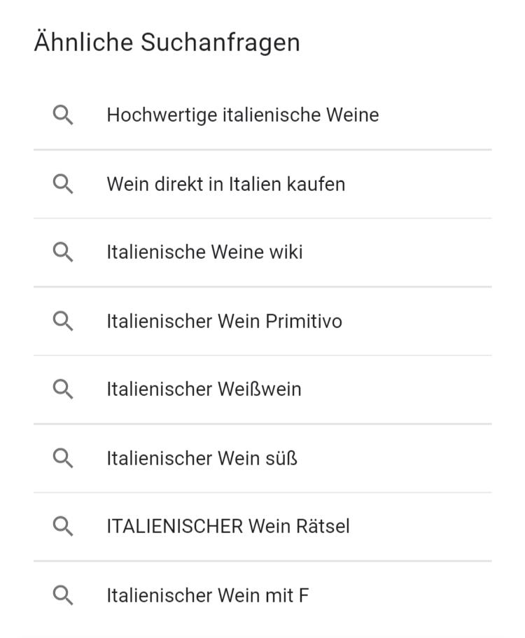 Ähnliche Suchanfragen in der Google Search Anzeige