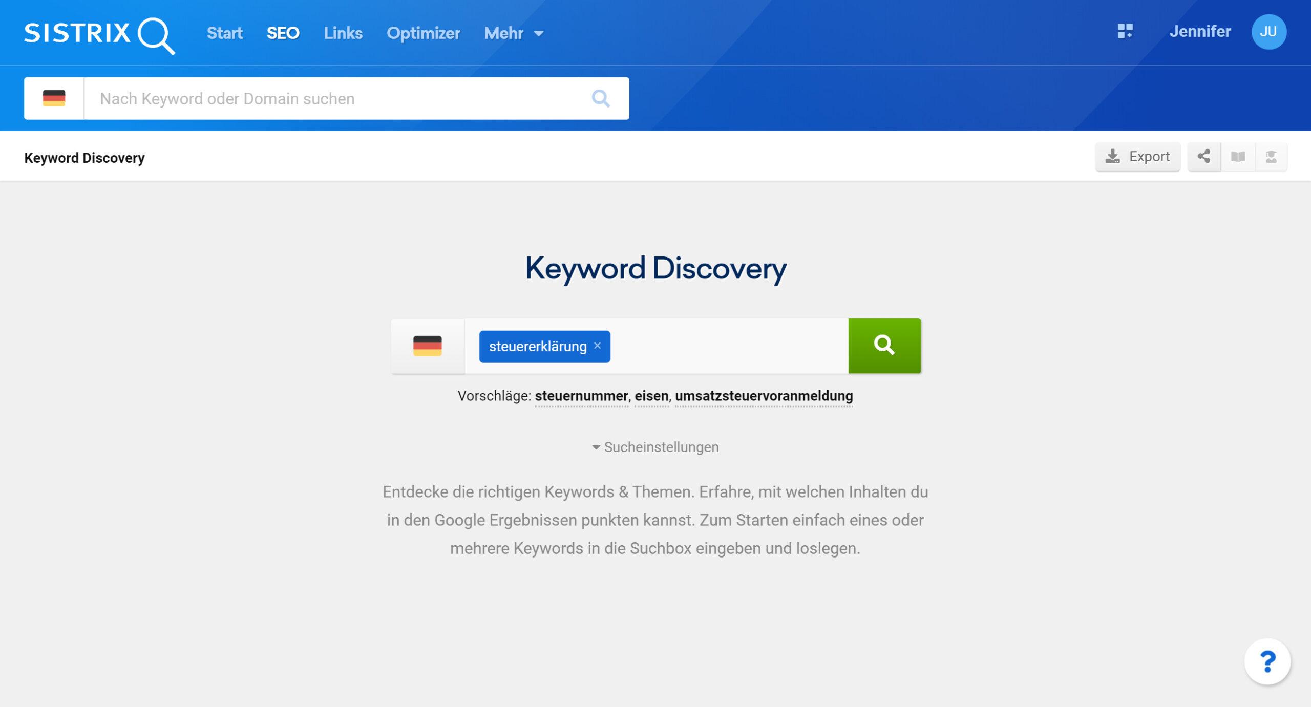 Ansicht der Keyword Discovery auf sistrix.de