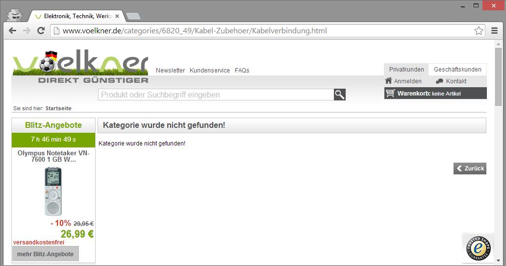 Eine Kategorie-Seite bei Voelkner.de leitet den User nicht weiter