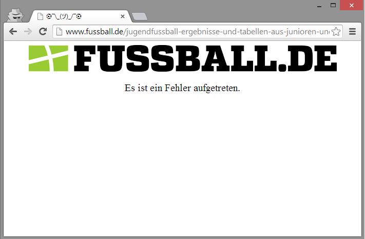 Fehlerseite bei fussball.de
