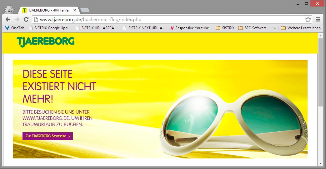 Relaunch von tjaereborg.de ohne 301-Weiterleitungen und mit nicht hilfreicher 404-Fehlerseite