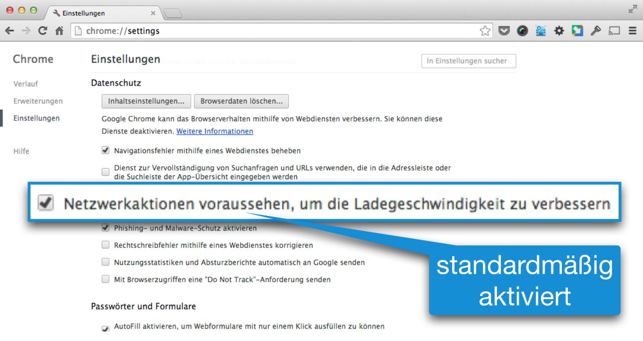 Google Chrome Funktion Netzweraktionen voraussehen