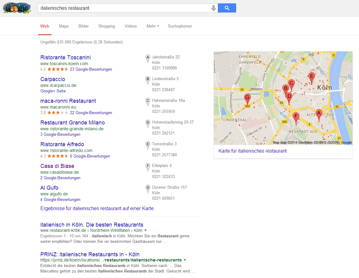 Screenshot einer Google Suchergebnisseite mit lokalen Places-Einträgen