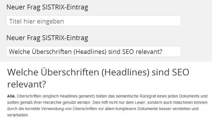 Beim CMS WordPress ist der Title eines Beitrages auch gleich die erste H-Überschrift