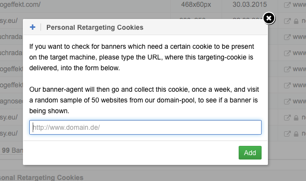 Add a personal Retargeting Cookie