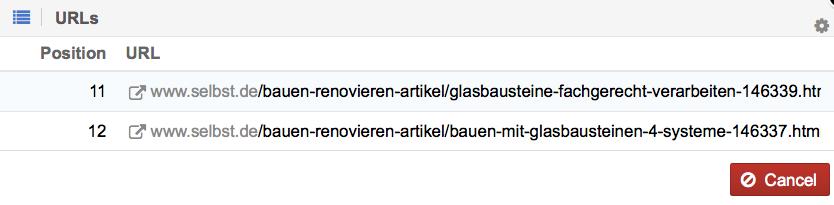 Ensuite, Nous Vérifions Les Détails En Cliquant Sur La Colonne « # » Du  Mot Clé « Glasbaustein » (briques De Verre) Et Notons Les Deux URLs  Trouvées.