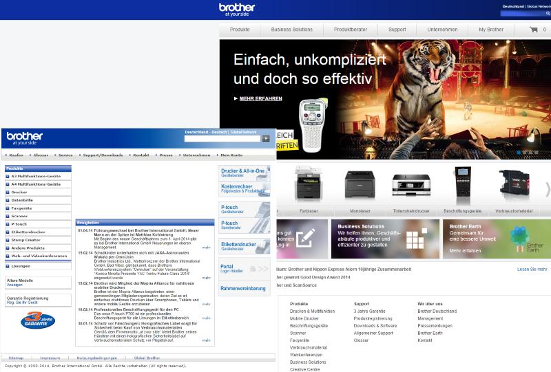 Links: Alte Startseite, rechts: Neue Startseite von brother.de