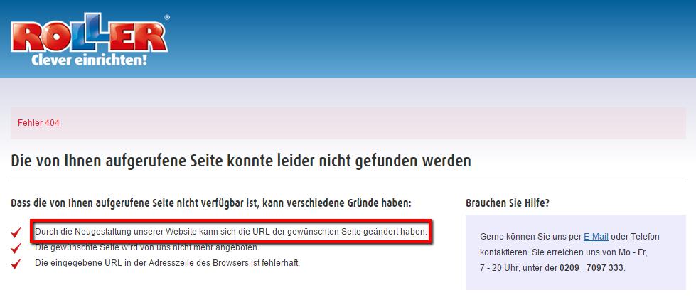 404-Fehlerseite bei roller.de