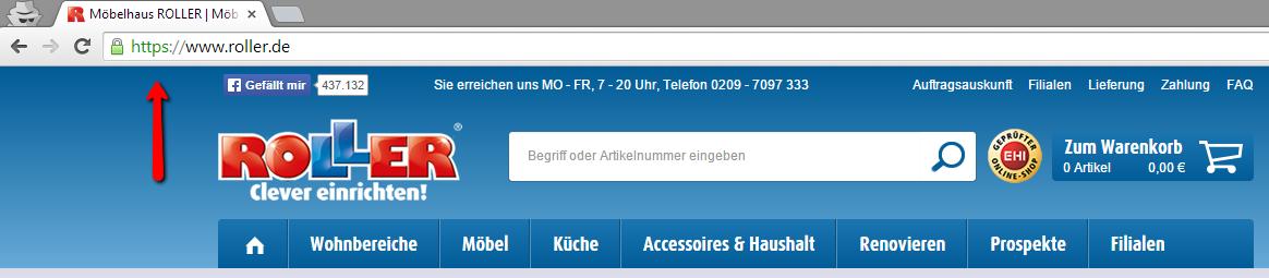 Umstellung auf das HTTPS-Protokoll bei roller.de
