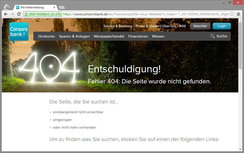 consorbank 404-Fehlerseite