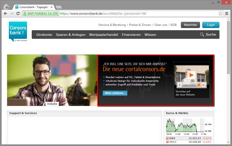 Landingpage auf consorbank.de