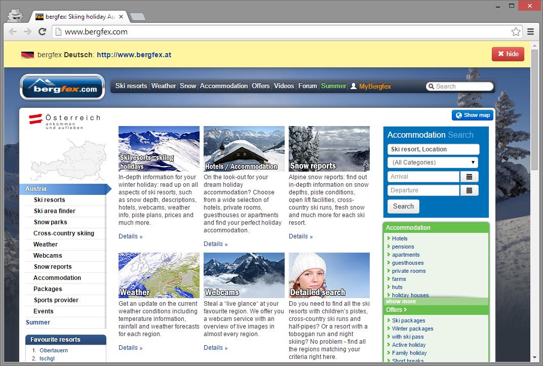 Deutsche Nutzer findet die Angebot unter der Domain bergfex.at