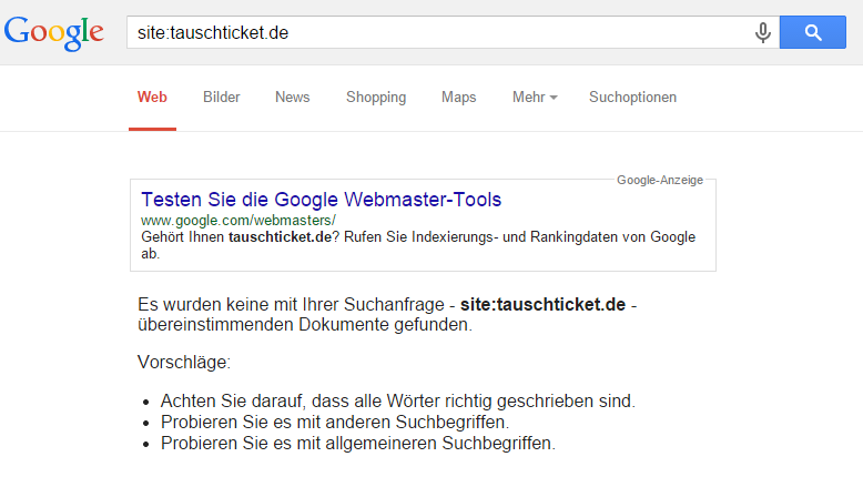 Domain tauschticket.de bei Google De-Indexiert